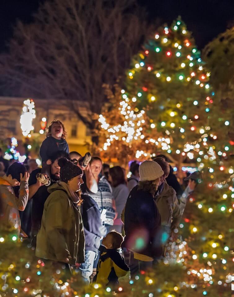 Families enjoying the Tree Lighting Ceremony